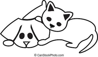 cute, cão, gato