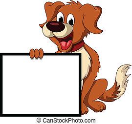 cute, cão, sinal, segurando, em branco, caricatura