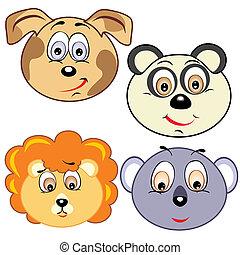 cute, cabeça, caricatura, ícones animais