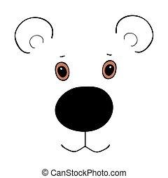 cute, cabeça, caricatura, urso, engraçado