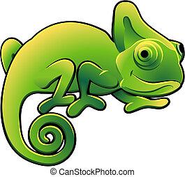 cute, camaleão, ilustração, vetorial