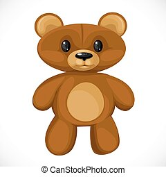 cute, caricatura, brinquedo, branca, isolado, urso, pelúcia, fundo