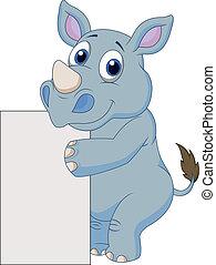 cute, caricatura, em branco, rinoceronte, sinal
