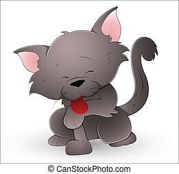 cute, caricatura, gato