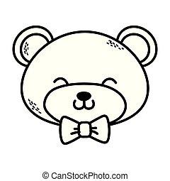 cute, caricatura, urso, pelúcia