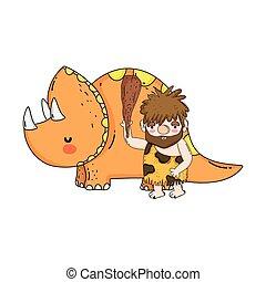 cute, caveman, triceratops
