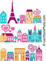 cute, cidades, vetorial, ilustração, mundo