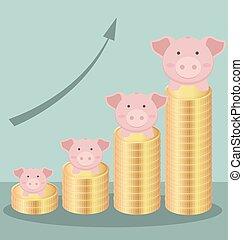 cute, conceito, barzinhos, forma, ouro, ser, dinheiro, moedas, mapa, piggy, poupar, pilha, banco