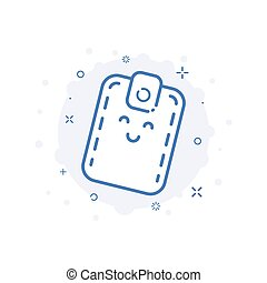 cute, conceito, shopping, linha, ilustração, carteira, vetorial, sorrindo, style., ícone
