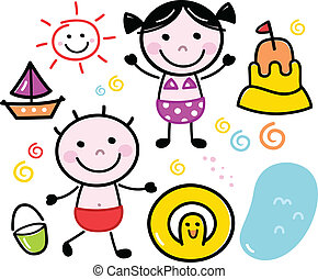 cute, crianças, verão, doodle, isolado, jogo, branca
