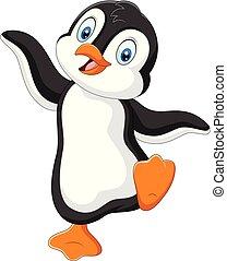 cute, dançar, fundo, branca, caricatura, pingüim