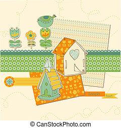 cute, elementos, -, casas, vetorial, desenho, scrapbook, pássaro