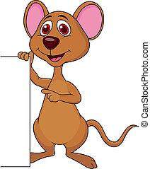 cute, em branco, rato, caricatura, sinal
