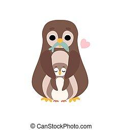 cute, família, ilustração, pássaros, vetorial, mãe, seu, bebê, pingüim