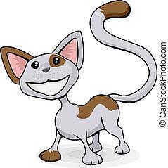 cute, feliz, caricatura, ilustração, gato