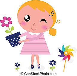 cute, flor, primavera, isolado, menina, branca