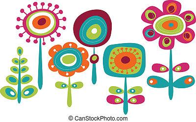 cute, flores, coloridos