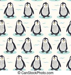 cute, illustration., padrão, seamless, vetorial, pintinho, repetindo, caricatura, pingüim