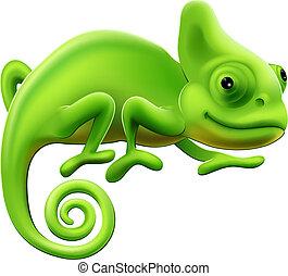 cute, ilustração, camaleão