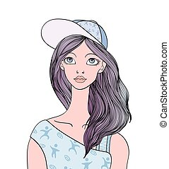 cute, ilustração, isolado, jovem, cara longa, cabelo, experiência., snapback, vetorial, femininas, head., retrato, branca, menina