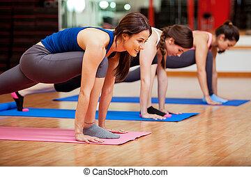 cute, ioga, mulheres jovens