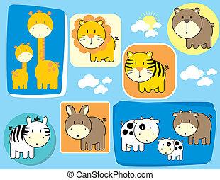 cute, jogo, animais