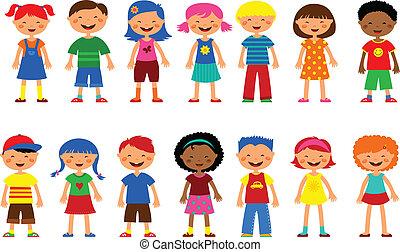 cute, jogo, crianças, -, vetorial, ilustrações