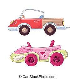 cute, jogo, illustration., cabriolé, crianças, mão, vetorial, caminhão, caricatura, style., desenho