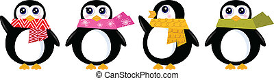 cute, jogo, inverno, ), (, isolado, vetorial, retro, branca, pingüim