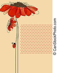 cute, ladybug, elegante, vetorial, flores, cartão