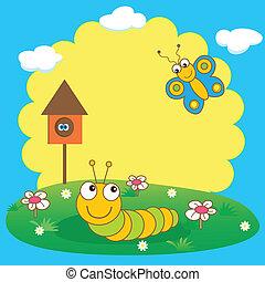 cute, lagarta, butterfly., cartão, primavera