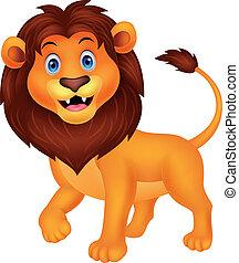 cute, leão, caricatura, andar