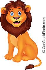 cute, leão, caricatura, sentando
