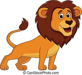 cute, leão, caricatura