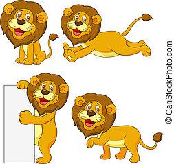cute, leão, jogo, caricatura