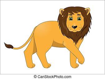 cute, leão, macho, caricatura