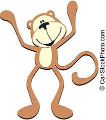 cute, macaco, feliz