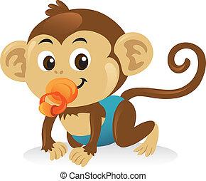 cute, macaco, pose., rastejar, pacifier, bebê