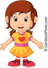 cute, menina, caricatura