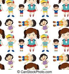 cute, meninas, seamless, meninos