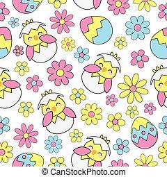 cute, ovos, seamless, fundo, flores, pintinho páscoa
