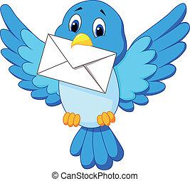cute, pássaro, caricatura, letra, entregar