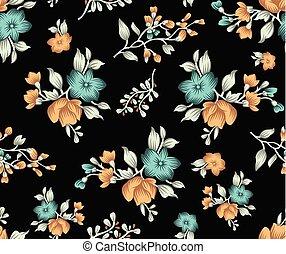 cute, padrão, seamless, escuro, têxtil, floral