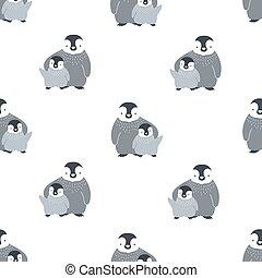 cute, par, monocromático, engraçado, padrão, seamless, impressão, têxtil, experiência., pingüins, branca, apartamento, backdrop., ártico, abraçar, ilustração, bebê, caricatura, papel parede, birds., vetorial, mãe