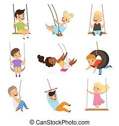cute, pequeno, crianças, balanços, balançando, meninas, ilustração, corda, meninos, vetorial, fundo, divertimento, branca, ao ar livre, tendo