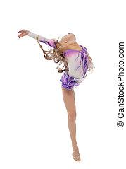 cute, pequeno, ginasta, estúdio, flexível, posar