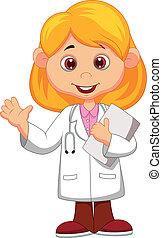 cute, pequeno, médico feminino, w, caricatura