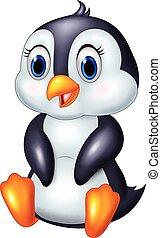 cute, pingüim, caricatura, animal, sentando