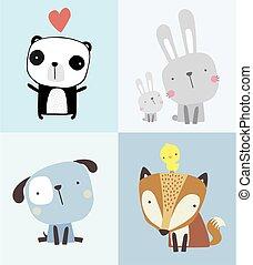 cute, set.eps, animais bebê