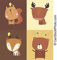 cute, set.eps, floresta, animais